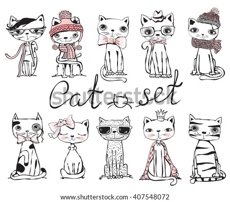 Set of stylish cats. Vector trendy hipster style greeting card design, t-shirt print, inspiration poster.  - stock vector