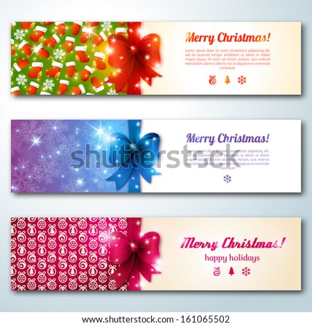 Set of stylish Christmas banners. Vector illustration. Merry Christmas message.Place for your text. New year symbols and objects. Banners for web site. Vintage banners with bow. Lights. - stock vector