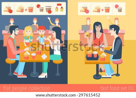 Set of stylish family mom dad boy girl children kids couple sitting fastfood table. Flat people lifestyle situation fast food cafe restaurant meal time concept. Vector illustration creative collection - stock vector