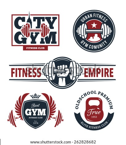 Set of stylish fitness emblems. Gym logo templates. Vector arts. - stock vector