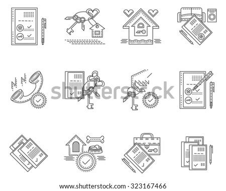 Set of stylish flat line design vector icons for rental and sale of residential property. Housing, mortgage, rooms interior, rental agency and documents. Elements of web design for business and site. - stock vector