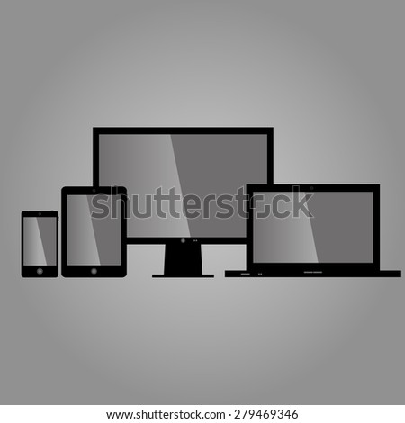set of stylish, modern, modern electronic technology. four devic - stock vector
