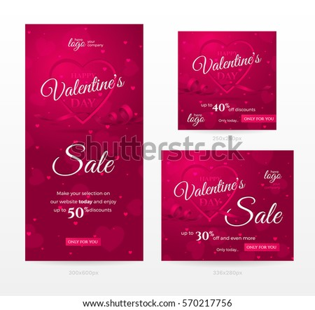 Set of stylish sale banners of different sizes for Happy Valentine's day with frame of shaped heart, ribbon and confetti. Romantic template for discount offer. Vector pink background with hearts.