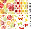 Set of stylish seamless geometrical and floral backgrounds - stock vector