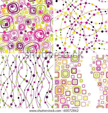 Set of stylish seamless geometrical backgrounds - stock vector