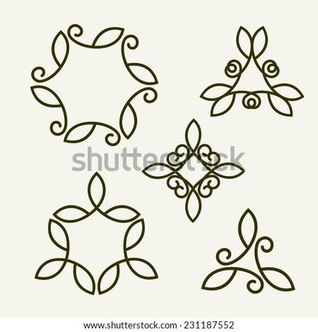 Set of stylish, simple and graceful  floral monochrome monogram design templates, Elegant lineart logo design elements, vector illustration - stock vector