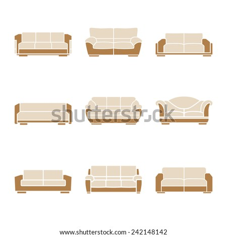 Set of stylish sofas on a white background. Vector - stock vector