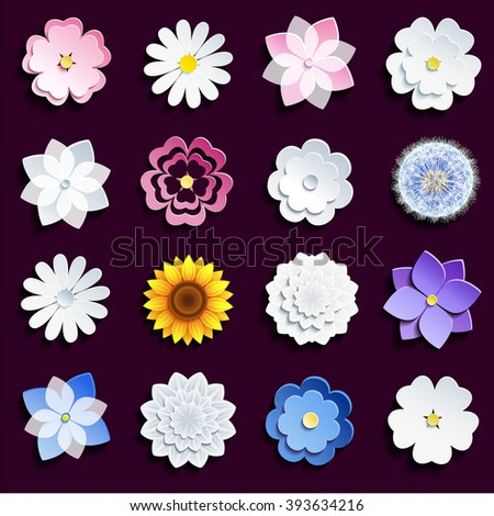Set of stylish spring and summer 3d flowers isolated on dark background. Stylized sakura, chamomile, sunflower, dahlia, dandelion, violet. Trendy floral design elements, vector icon flower