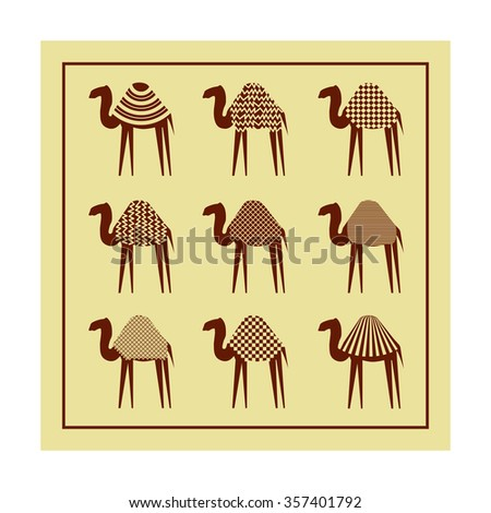 Set of stylized camels on a beige background. Good use for company logo, design presentations, print on textiles. Vector illustration - stock vector