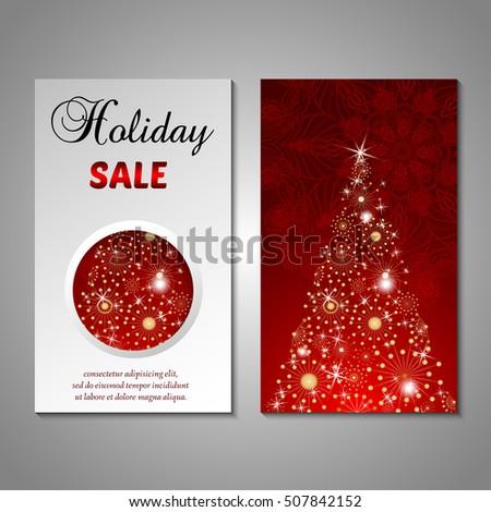 Set Stylized Christmas Tree Invitation Flyer Stock Vector ...