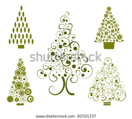 set of stylized christmas trees (grouped and layered for easy changes) - stock vector