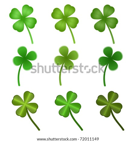 set of stylized  clover leaves - stock vector