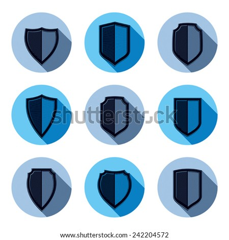 Set of stylized coat of arms, decorative defense shields collection. Heraldic symbols, Protection and security idea. - stock vector