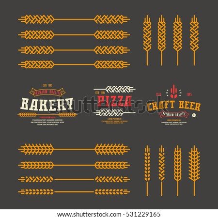 Set Of Stylized Ear Wheat Template Labels For Bakery Pizza Beer Color