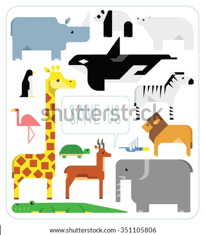Set of stylized endangered animals crying out to save them - stock vector