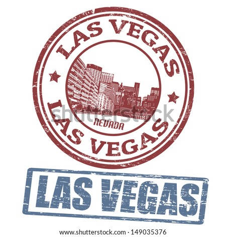 Set of stylized grunge stamps of the Las Vegas, vector illustration - stock vector