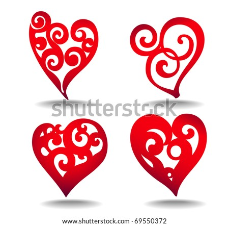 set of stylized hearts - stock vector