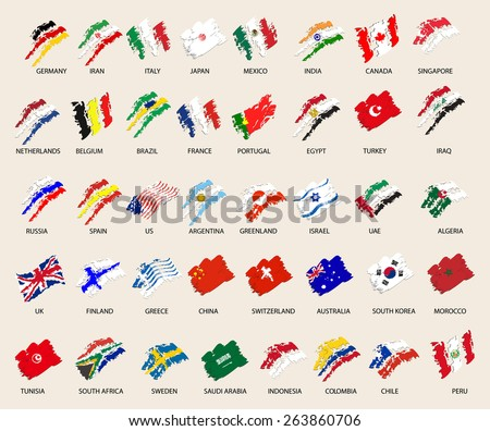 set of stylized images of 40 flags. vector illustration - stock vector