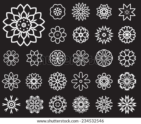 Set of stylized images of flowers. Vector illustrations isolated on a black background - stock vector