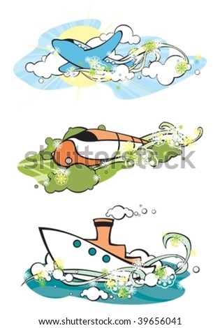 set of stylized images of vehicles - stock vector