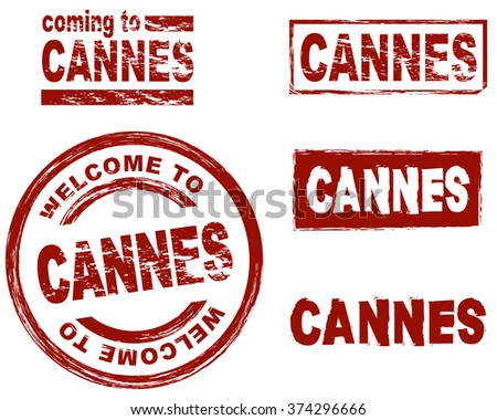 Set of stylized ink stamps showing the city of Cannes - stock vector