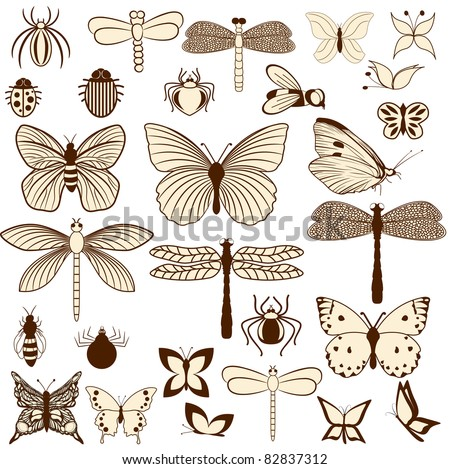 Set of stylized insects for decorating your work. Easy to edit and to change colors. - stock vector