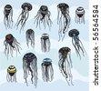 Set of Stylized Jellyfish - stock vector