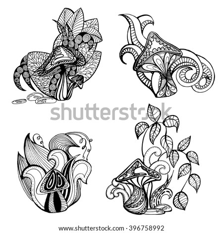 set of stylized mushrooms on a white background, illustrations of fungi and plants - stock vector