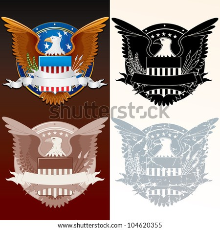 Set of Stylized Seal of the President. USA Coat of Arms