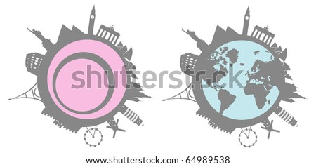 Set of stylized world historical monuments and landmarks - stock vector