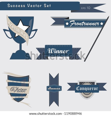 Set of success and achievement badges and elements in vector