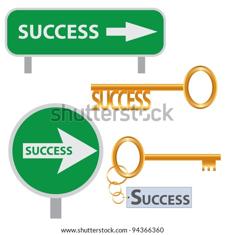 Set of success concept arts on the white background. - stock vector