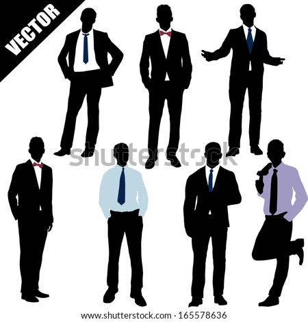Set of successful businessman on white background, vector illustration - stock vector