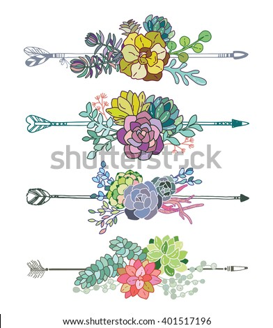 Set of succulent bouquet and arrow for your design - stock vector