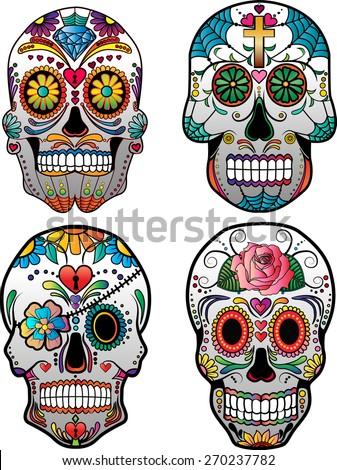 Set of Sugar Skulls Vector - stock vector