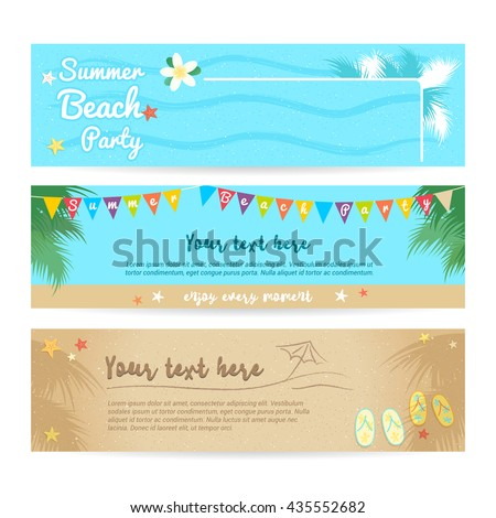 Set of summer beach and sea banner background - stock vector