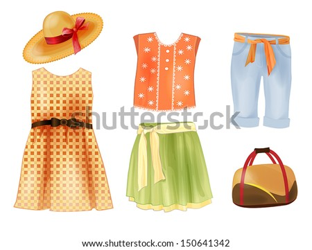 set of summer clothes for girls - stock vector