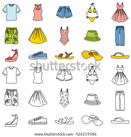 Set Of Summer Clothing Icons Vector Doodle Illustration