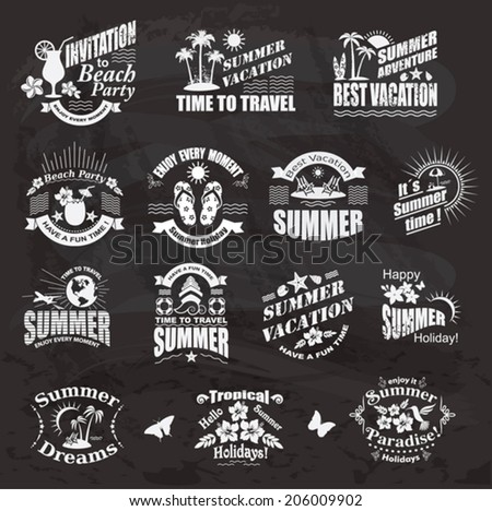Set of SUMMER design elements and frames.  Travel and vacation labels on the chalkboard. .  - stock vector
