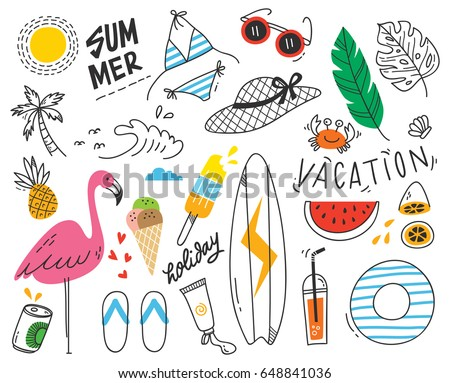 Set of summer doodle on white background