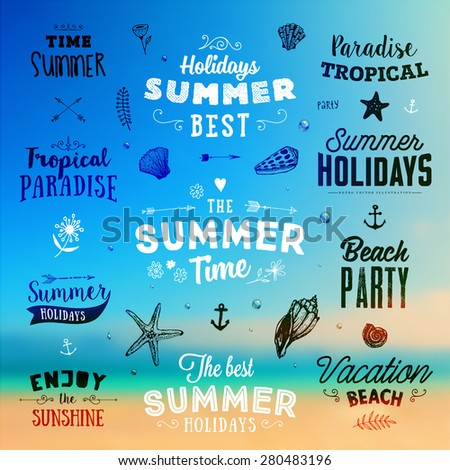 Set of Summer Elements: Calligraphic Labels, Seashells, Flowers, Anchors. Hand Drawn Style. Typographic Design for Logo or Label. Summer Holidays. Tropical Paradise, Best Tour, Beach Party, Bon Voyage - stock vector