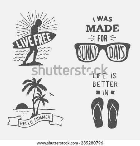 set of summer hand drawn typography posters, emblems and quotes. artworks for wear. vector inspirational illustration - stock vector