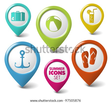 Set of summer holiday vector round 3D pointers - stock vector
