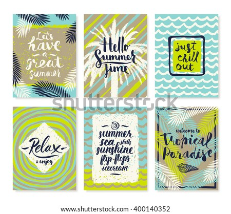 Set of summer holidays and tropical vacation hand drawn posters or greeting card with handwritten calligraphy quotes, phrase and words. Vector illustration. - stock vector