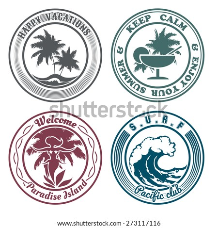 Set of summer holidays stamps or seal with design elements. Palm trees, cocktail, hula dancer, surf wave. Isolated on white background. No gradient used. - stock vector