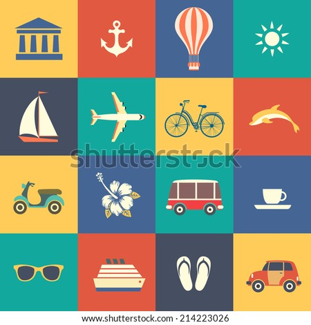 set of summer icons - stock vector