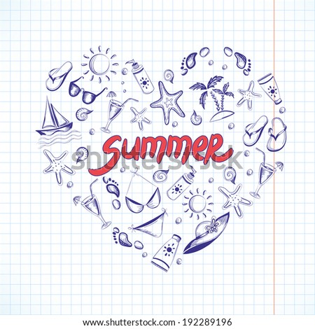 Set of summer icons. Heart shape. Eps 8 vector illustration - stock vector