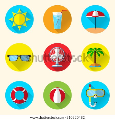 set of 9 summer icons in flat design on circle background