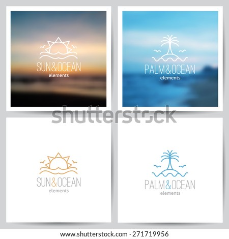 set of summer logo with sun, palm and sea - stock vector