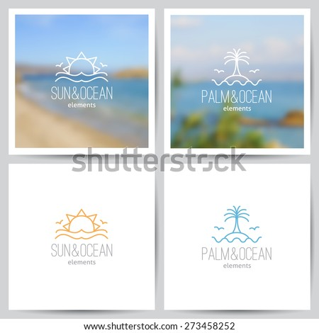 set of summer logo with sun, palm and sea on blurred seascape backgrounds and on white - stock vector